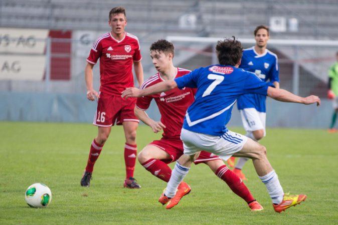 Der FC Vaduz U23 verliert heute Abend das Meisterschaftsspiel gegen Tabellenführer Chur97 deutlich 0:3. Bild: Jürgen Posch